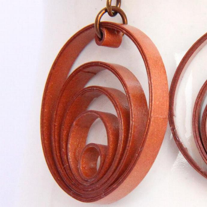 Eco Friendly Earrings Copper Hoop Paper Jewelry Eclectic Circles Artisan Jewelry