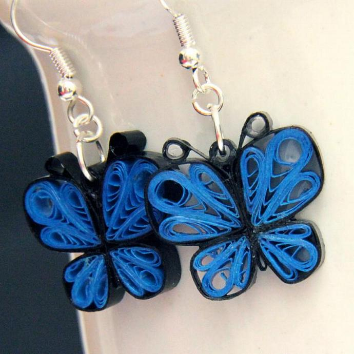 Eco Friendly Earrings Little Blue Butterflies Earrings Handmade by Paper