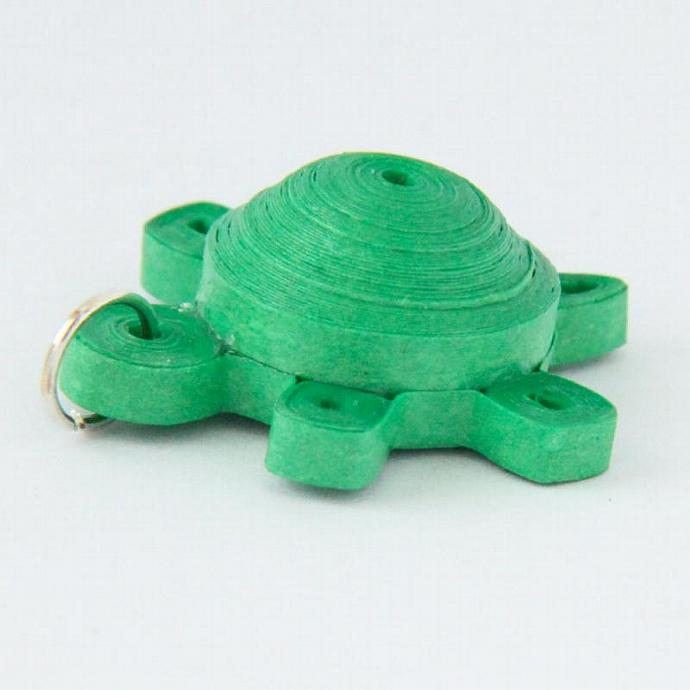Green Turtle Pendant Paper Quilled with Niobium Ring Eco Friendly Artisan