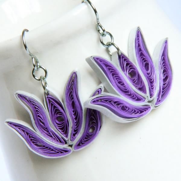 Lotus Earrings Purple and Silver Handmade with Niobium Earring Hooks Bridesmaid