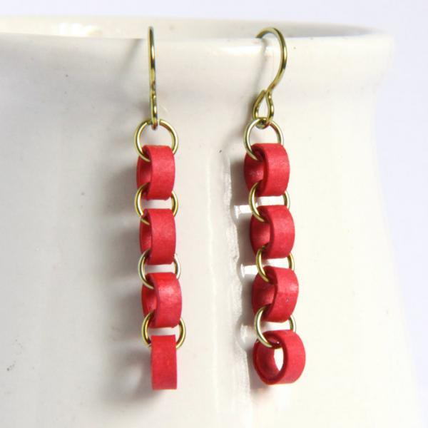 Eco Friendly Earrings Red Chain Niobium Earrings made with Paper Beads Christmas