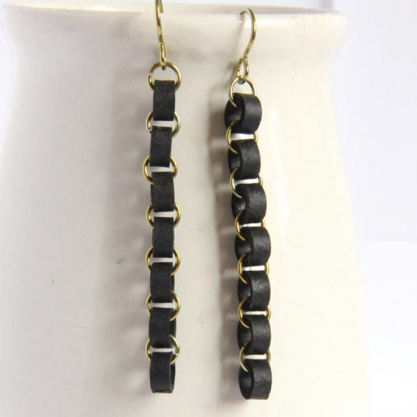 Eco Friendly Earrings Black Chain Niobium Earrings made with Paper Beads