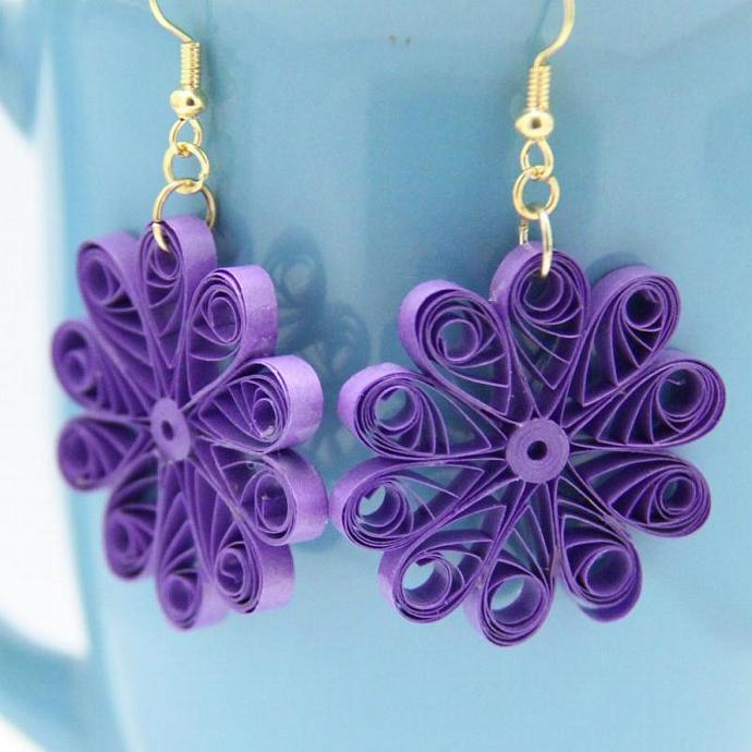 Large Purple Flower Earrings - Paper Quilled Unique Handmade Eco Friendly