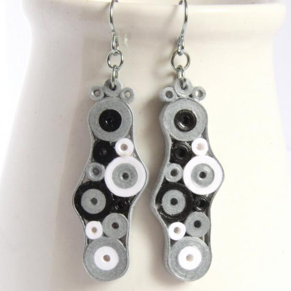 Retro Earrings Grey White and Black CIrcles with Niobium Earring Hooks Eco