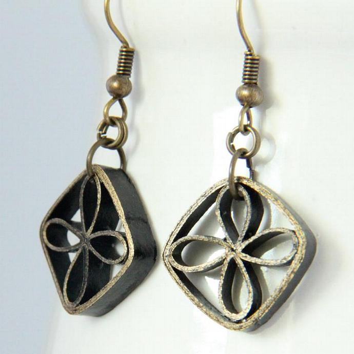 Eco Friendly Earrings Paper Black and Gold Dangle Floral Lattice Artisan Niobium