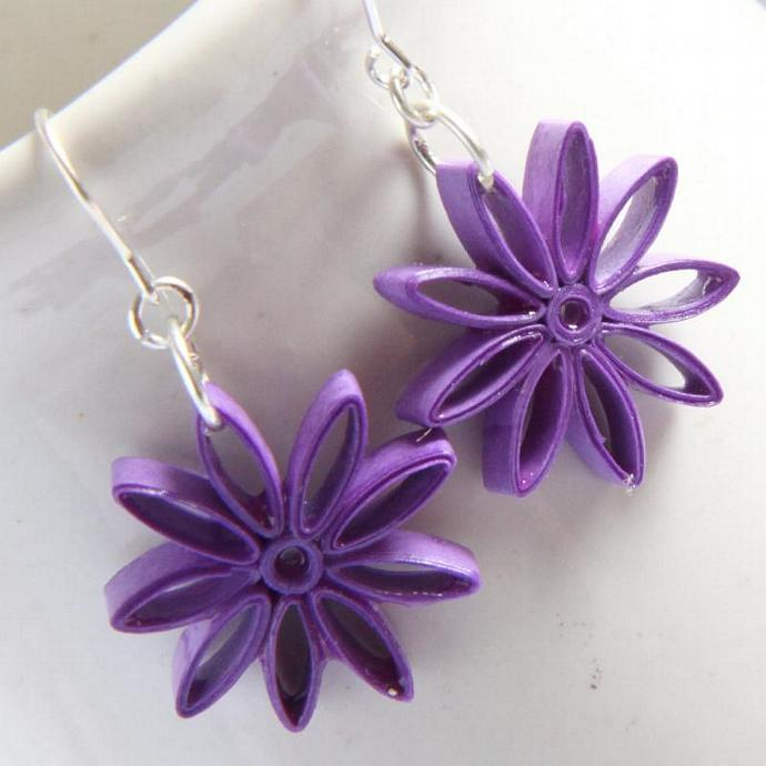 Purple Eco Friendly Earrings Nine Pointed Star Paper Quilling bridesmaid gift