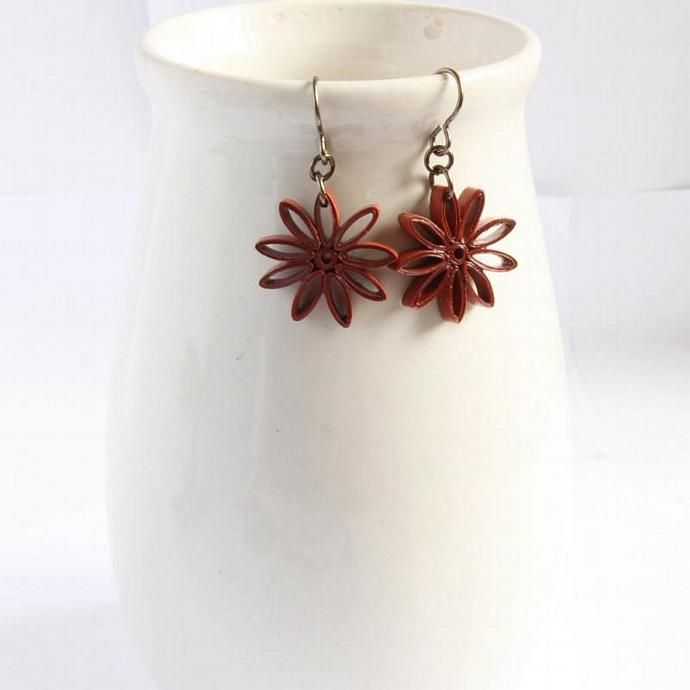 Rust Brown Star Earrings Nine Pointed Star Baha'i Jewelry with Niobium Earring