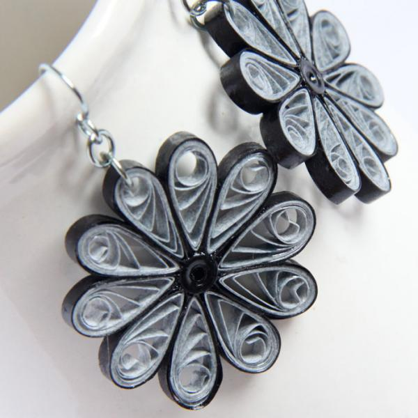 Large Grey Flower Earrings with Niobium Earring Hooks Paper Quilled Eco Friendly