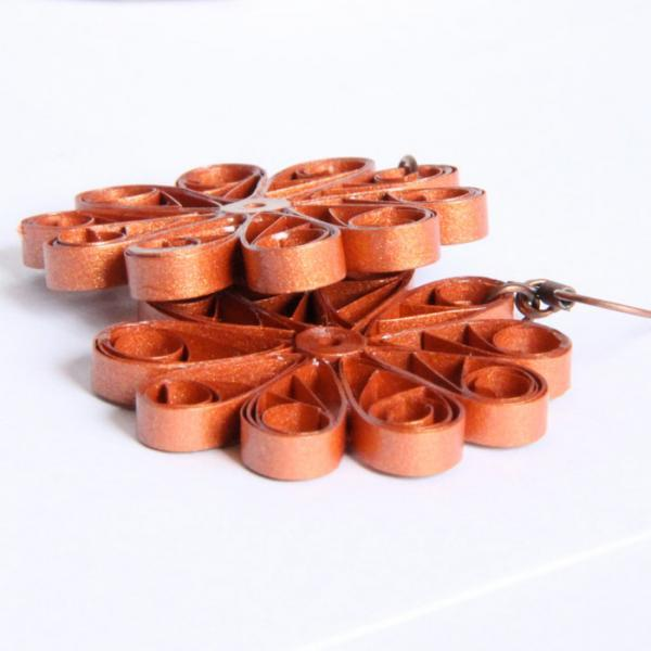 Large Copper Flower Earrings - Paper Quilled Unique Handmade Eco Friendly