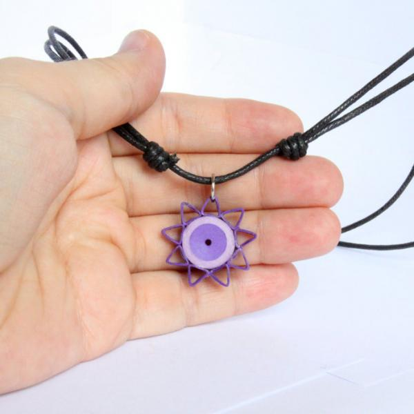 Star Pendant Purple Handmade by Paper Quilling with Necklace Cord Nine Pointed