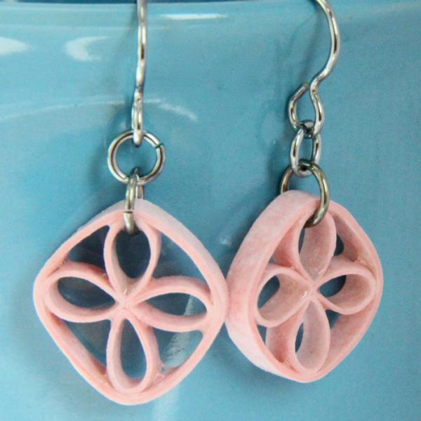 Pink Eco Friendly Earrings Flower Earrings Paper Lattice Earrings with Niobium