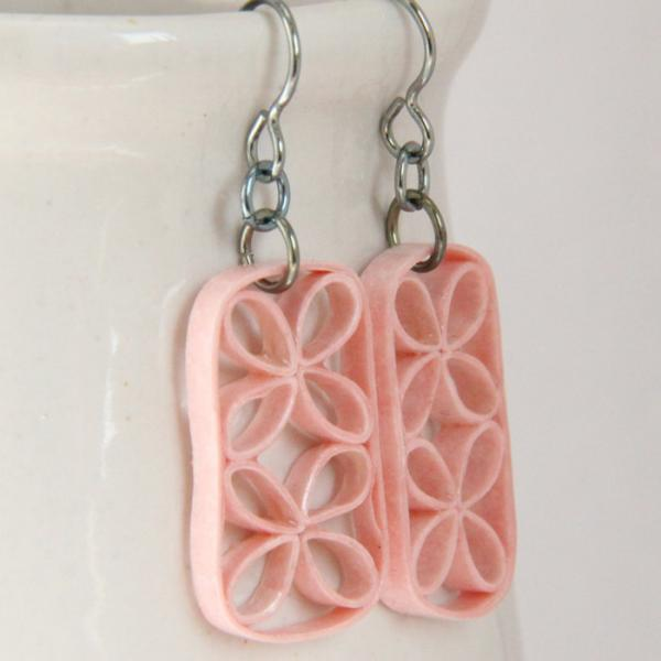 Pink Eco Friendly Earrings Floral Lattice Great for Wedding and Bridesmaids with