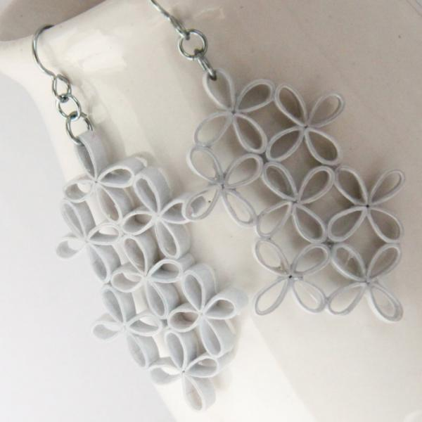 Eco Wedding Lattice Earrings Pale Blue Floral Design Paper Quilling Statement