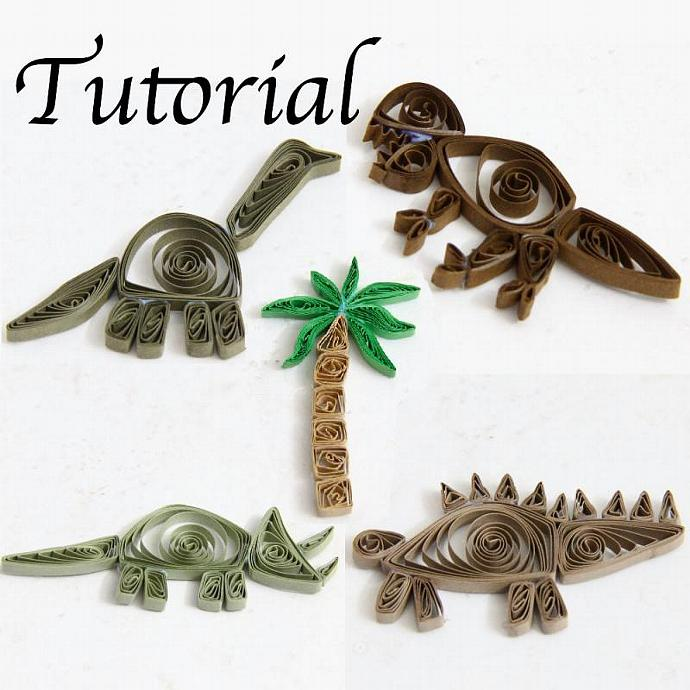 Tutorial for Paper Quilled Dinosaurs PDF for Decorative Pieces and Scrapbook