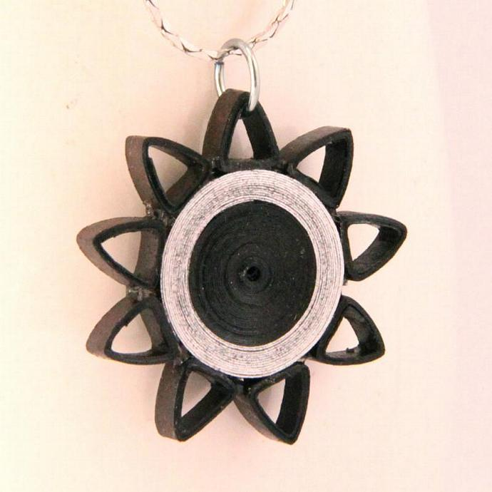 Brown and Silver Nine Pointed Star Paper Quilled Pendant with Niobium Ring