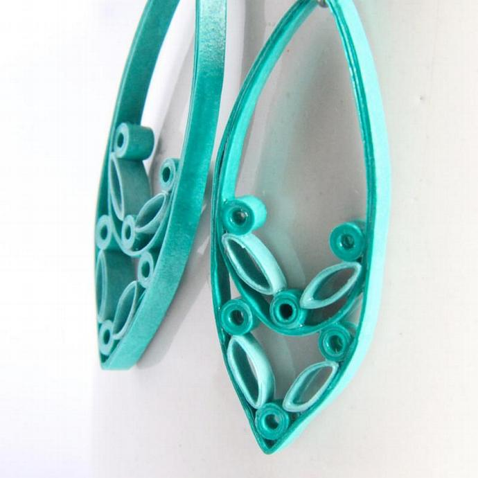 Aqua Marquis Drop Earrings Paper Quilled With Hypoallergenic Niobium Earring