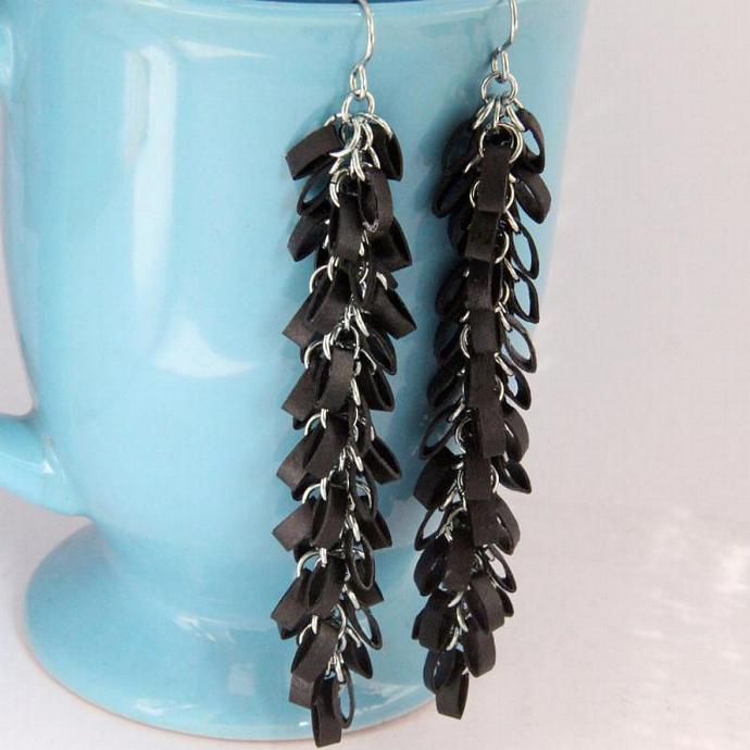 FREE SHIPPING Eco fashion Very Long Goth Earrings Black Cluster Unique Handmade