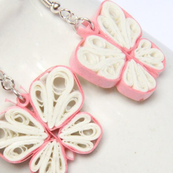 Save 75% Eco Friendly Earrings White and Pink Butterfly Earrings Paper Quilled