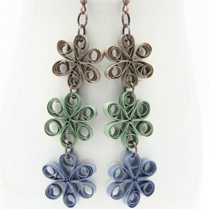 Save 75% CLEARANCE Eco Friendly Earrings Flower Chain made by Paper Quilling
