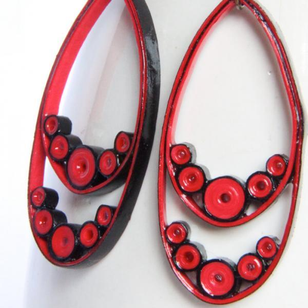 Eco Fashion Earrings Red and Black Teardrop Dangle Earrings With Niobium Earring