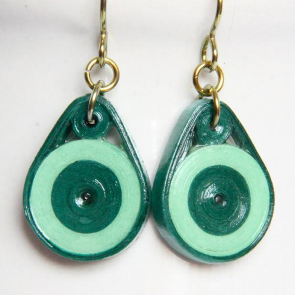 Eco Fashion Earrings Green Circle Dangle Earrings with Niobium Earring Hooks