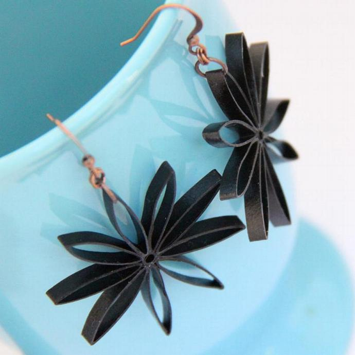 Black Flower Dangle Earrings Nine Pointed Star Paper Quilled Earrings Eco