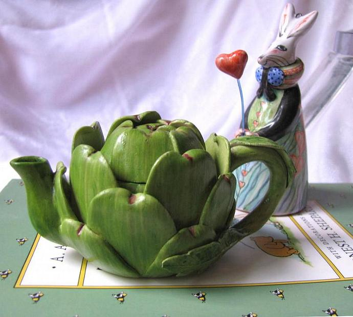 Miniature Lidded Teapot Vintage Artichoke Pot For Your Dolly and Bunny Tea