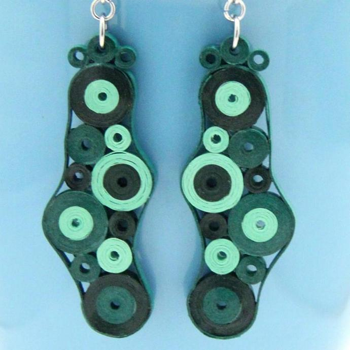 Green Dangle Retro Circles Earrings Paper Quilled in green tones Eco Friendly