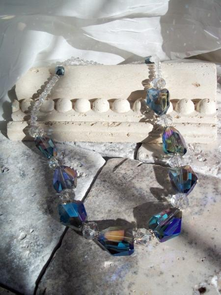 Exquisite Blue Crystal Quartz Nugget Necklace Wedding Jewelry Statement Necklace