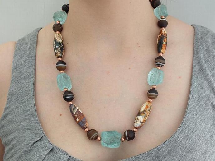 Unique Necklace- Hammered Quartz - Agates - Copper Necklace - Statement Necklace