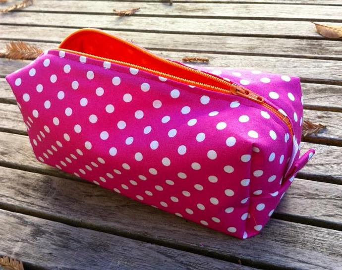 Pencil Case/ Cosmetic Case Pink with White Polka Dots, Orange Zipper