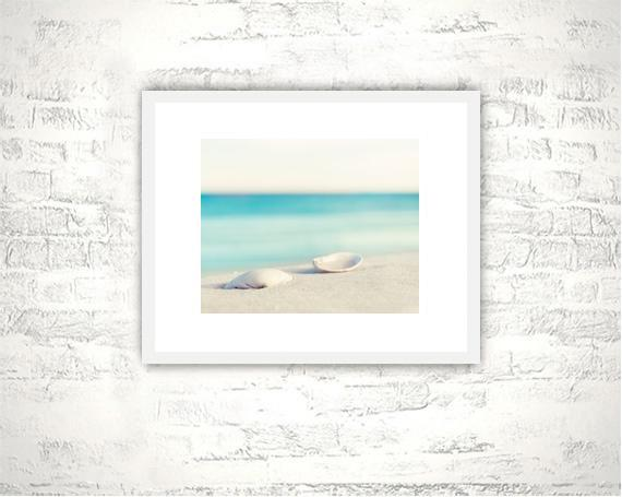 Seashell Photography - 8x10 Shell Print - Beach Aqua Blue White Wall Art Photo