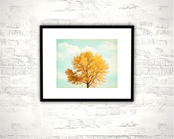 Autumn Photography - 8x10 Fall Tree Print - Orange Mint Aqua Teal Turquoise Wall