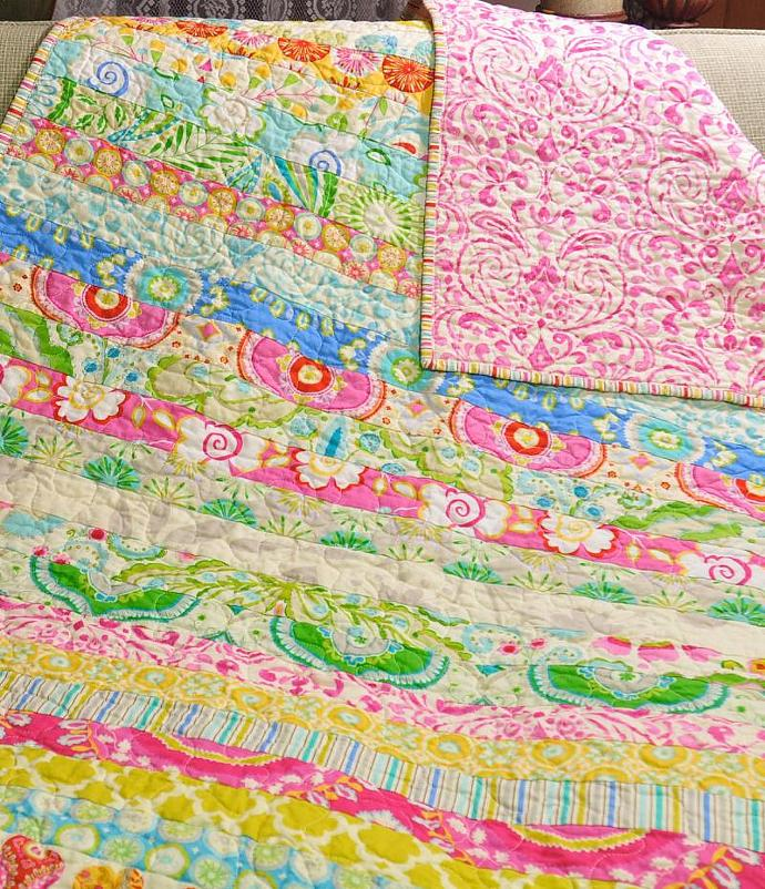 Kumari Garden Fabric Baby Girl Quilt Blanket CUSTOM MADE TO ORDER