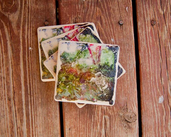 Set of 4 Inch Green Forest Photo Transfer Coasters