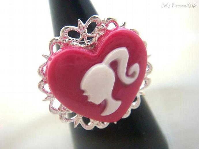 Ponytail girl pink heart ring, kawaii girly ring