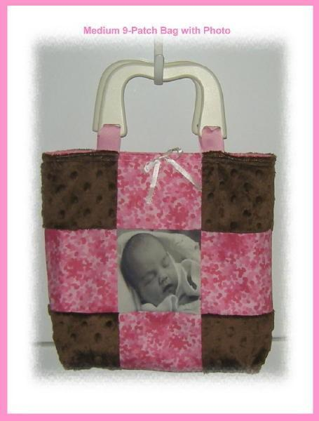 Handmade Customized 9-Patch Tote Bag with Imprinted Photo and Purchased Handles