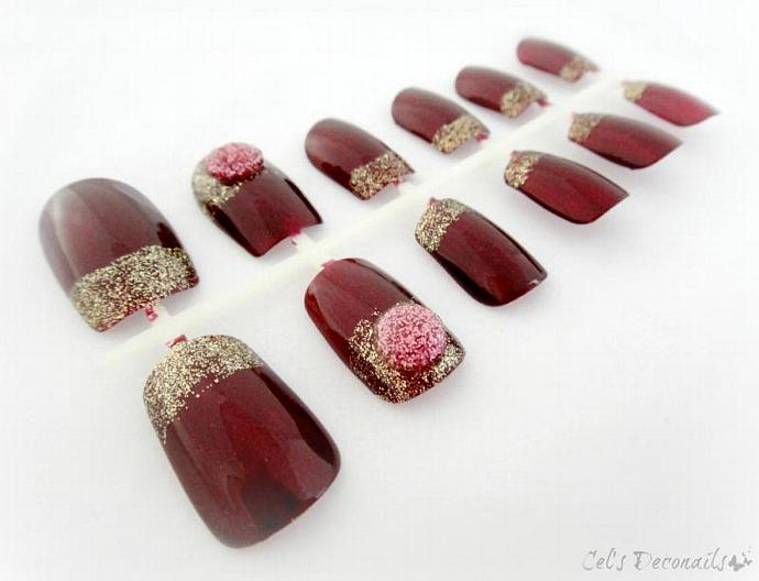 Golden burgundy japanese style nails