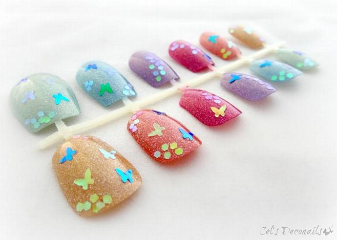 Holographic butterfly rainbow deco nails