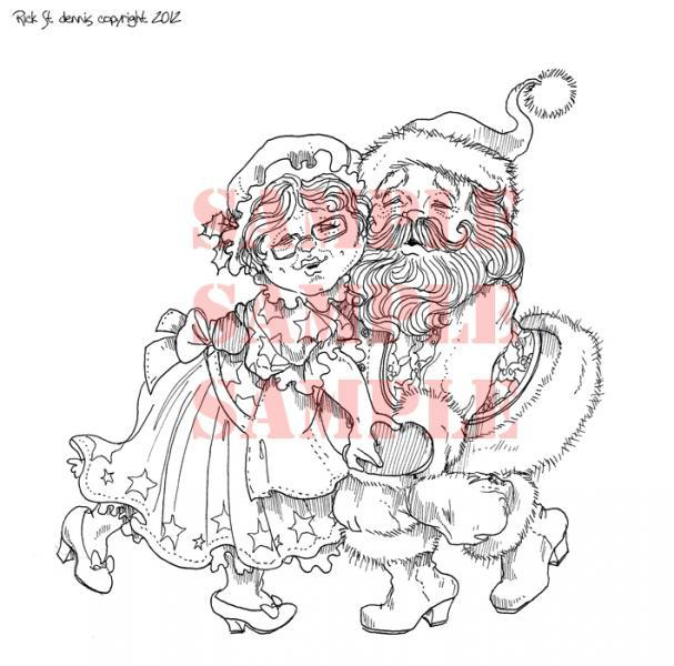 Christmas Couple digi stamp
