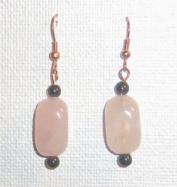 Earrings Rose Quartz and Hematite