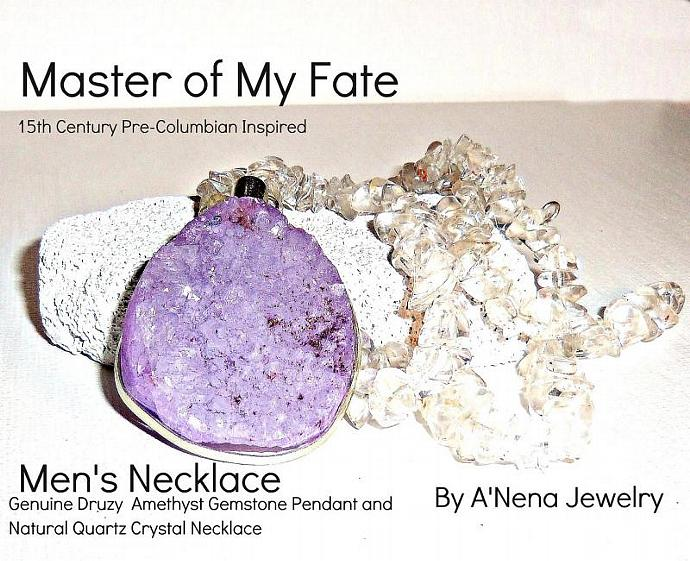 Men's Necklace Genuine Druzy  Amethyst Gemstone Pendant and Natural Quartz