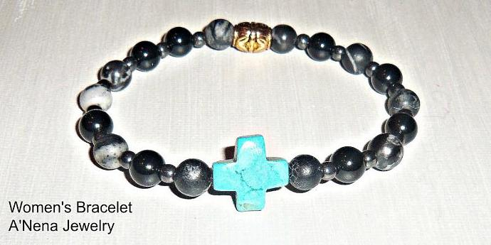 "Women's  Bracelet: Jasper, Hematite and Howlite ""Without Judgement"""