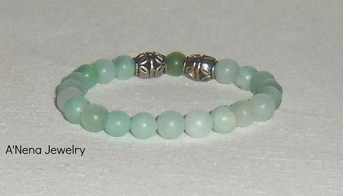 "Men's Bracelet ""Courage"" Pure Genuine Amazonite and Silver  Plated Beads"