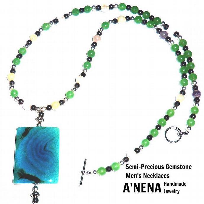 Men's Necklace-  Waliq  (Abundance in Quechua)  Genuine Semi-Precious Gemstones