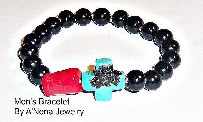 "Men's Bracelet  Jasper, Coral and Howlite ""Unicorn"""