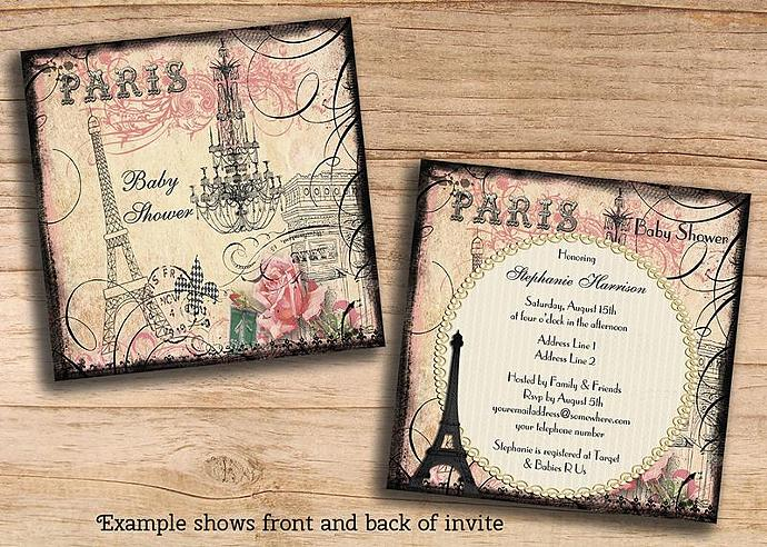 Girls Paris Baby Shower Invitations Mollyskyinvitations