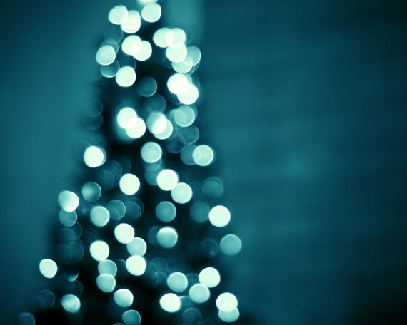 Christmas Lights Photography - 8x10 Bokeh Print - Dark Blue Wall Art - Holiday