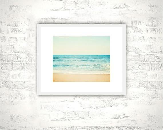 Ocean Photography - 8x10 Sea Print - Aqua Blue Beige Coastal Wall Art