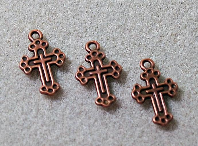 Medieval Copper Cross Charm or Pendant